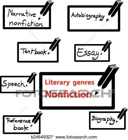 Vector icon of literary genres nonfiction, book Clip Art