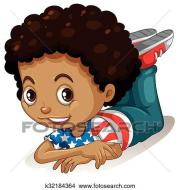 clipart of little boy with curly