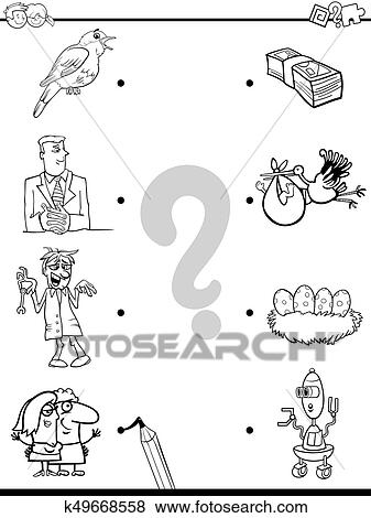 Match objects educational coloring book Clip Art