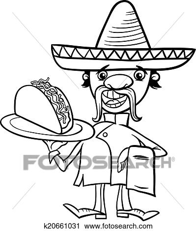 Clipart of mexican chef with taco coloring page k20661031