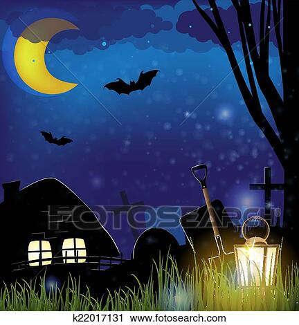 clipart of scary night landscape
