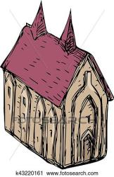 medieval church drawing fotosearch clipart angle isolated sketch clip
