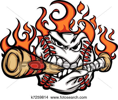 baseball flaming face biting