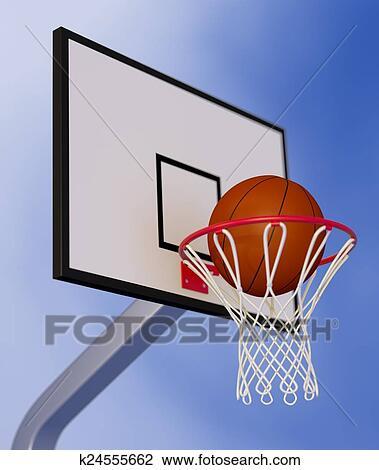 Basketball Hoop Drawing : basketball, drawing, Basketball, Drawing, K24555662, Fotosearch