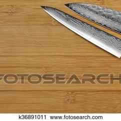 Professional Kitchen Knives Menards In Stock Cabinets Photography Of Japanese Knife On The Bamboo Cutting Board Fotosearch Search