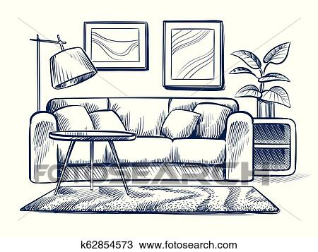 Sketch Living Room Doodle House Interior With Couch Lamp And Picture Frames Freehand Drawing Home Black And White Vector Interior Clipart K62854573 Fotosearch