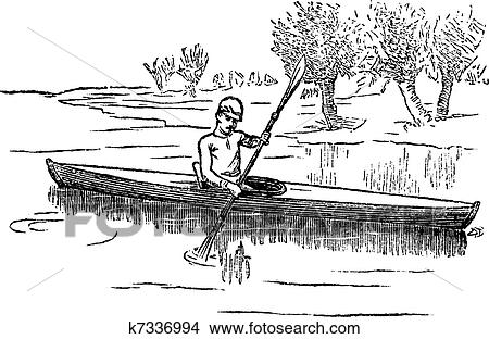 Clipart of Canoe or Canadian canoe vintage engraving