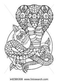 Clip Art - kobra, schlange, ausmalbilder, fr, erwachsene ...