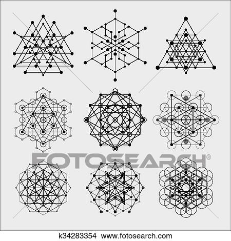 Sacred geometry vector design elements. Alchemy, religion