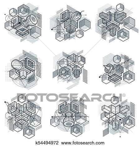 Lines and shapes abstract vector isometric 3d backgrounds