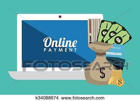 Money Bank And Online Payment Clipart K34088674 Fotosearch