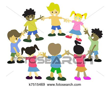 clip art of kids in circle