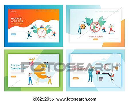 ビジネス, 期限, 時間外労働, 概念, 著陸, ページ, テンプレート, set., 遅く 働くこと, 人々, 特徴 ...