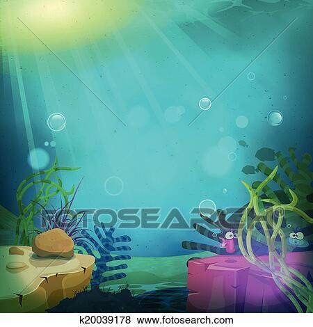 Clip Art  divertente sottomarino oceano paesaggio