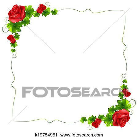 Clipart  a blumenrahmen mit rote rosen k19754961