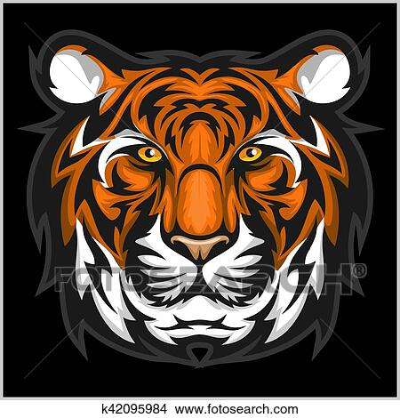 tigers face vector illustration