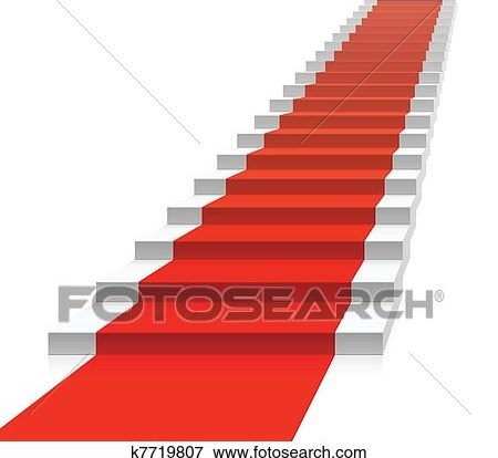 Staircase With Red Carpet Clip Art K7719807 Fotosearch | Stairs With Red Carpet | Event | Gold | Spiral Staircase | Traditional | White