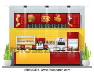 Interior scene of modern fast food restaurant Clipart k60879394 Fotosearch