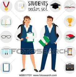Teenagers college students Young student people vector illustration teenage boy and girl with school clothes and backpacks Clipart k68817731 Fotosearch