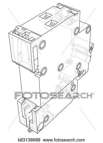 Automatic circuit breaker concept Stock Illustration