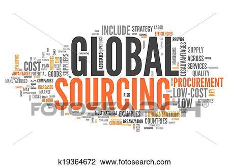 Word Cloud Global Sourcing Clip Art k19364672