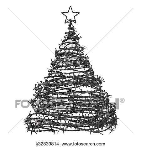 Drawings of Christmas Tree Made From Barbed Wire k32839814