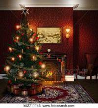 Stock Illustration of Christmas Tree Fireplace Decorated ...