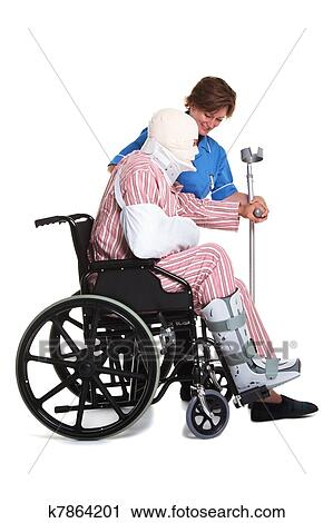 wheelchair man steel chair size injured in with nurse stock photography k7864201