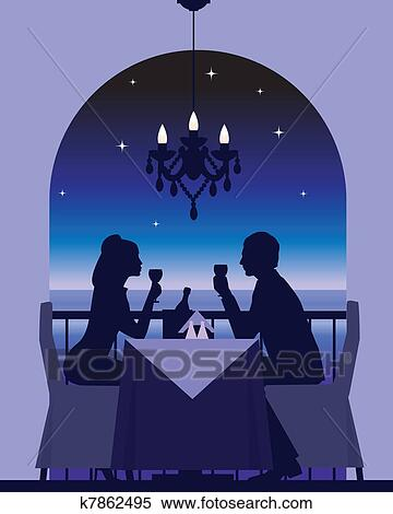 clipart of romantic dinner date
