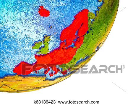 Schengen Area members on 3D Earth Drawing | k63136423 | Fotosearch