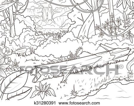 Jungle forest waterfal coloring book cartoon Clipart