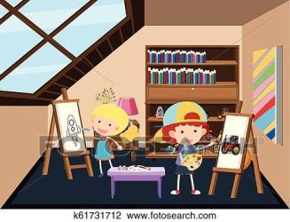 attic clipart painting children fotosearch clip illustration