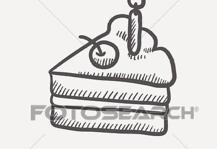 Slice Of Cake With Candle Sketch Icon Clipart K29268931 Fotosearch