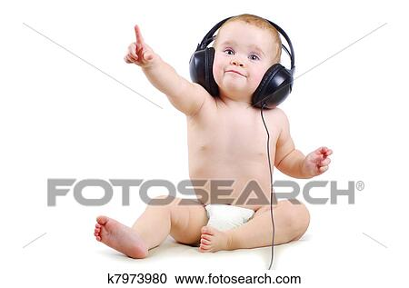baby with headphone stock