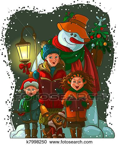 clipart of christmas carolers k7998250
