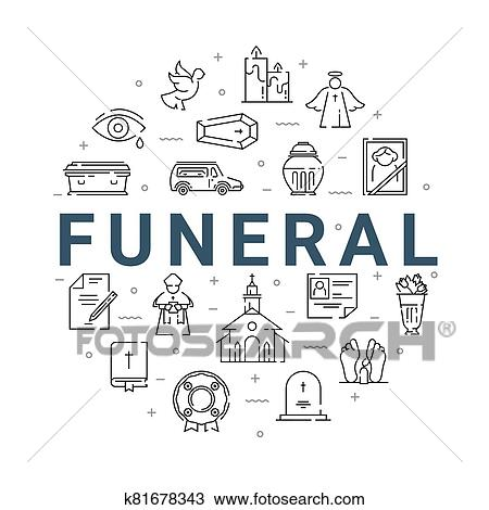Funeral service icon set in linear style. Clipart