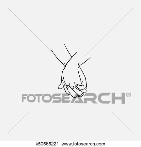 tenant mains a enclenche ou entrelace doigts dessine par noir lignes isole blanc arriere plan symbole de couple amoureux romance