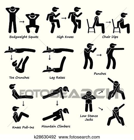 Body Workout Exercise Fitness Train Clipart   k28630492   Fotosearch