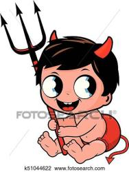 cute devil halloween boy costume baby vector illustration clipart horns tail fotosearch alamy demon clip scary trident drawing graphic