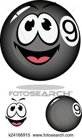 Cara Main Billiard Bola 15 : billiard, Billar,, Número, Caricatura,, Estilo, Clipart, K24166915, Fotosearch