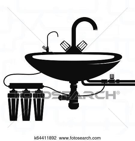 Filtration Of Tap Water And Plumbing Clipart K64411892 Fotosearch