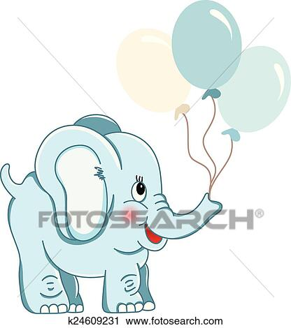 clipart of cute blue elephant holding