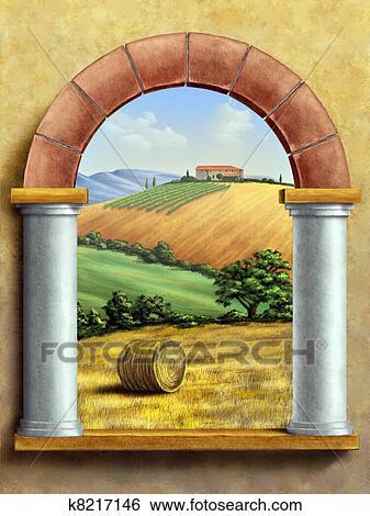 Archivio Illustrazioni  paesaggio rurale k8217146  Cerca Clipart Disegni Stampe di alta qualit Illustrazioni e Immagini grafiche vettoriali