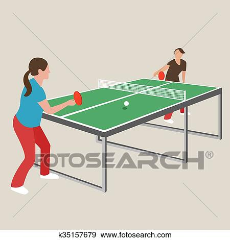 Clip Art Table Tennis Ping Pong Woman Female Girl Athlete Play Sport Games Cartoon Drawing