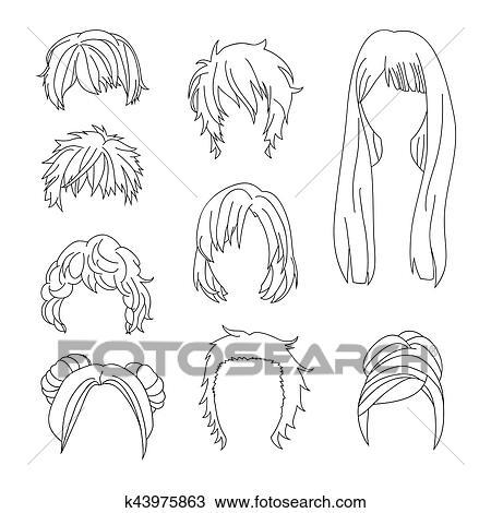 Colección, peinado, para, hombre y mujer, pelo, dibujo