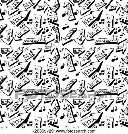 Stock Illustration of doodle music word seamless texture