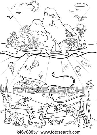 Underwater world with fish, plants, island and caravel