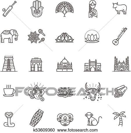 india icons set indian
