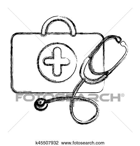 Profile suitcase health with stethoscope icon Clipart