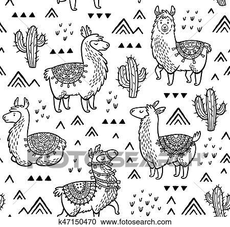 Malvorlage Lama Ausmalbild - Cartoon-Bild